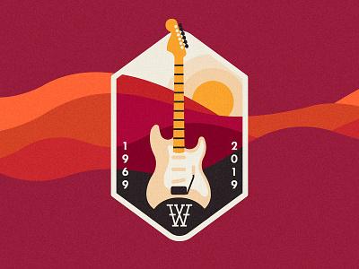 Woodstock 50 / 2 history music landscape summer sun texture patchdesign badge patch stratocaster fender guitar woodstock logo drawing art vector graphic design illustration