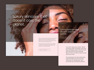 Landan skincare concept landing page design web design homepage design homepage healthy health care skin skin care skincare landing page ux ui