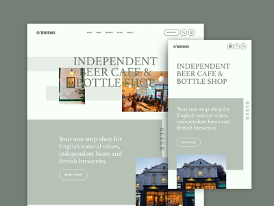Homepage concept for O'Briens Beer Cafe beer design bottle shop shop beer shop beer homepage design homepage design web design ux ui