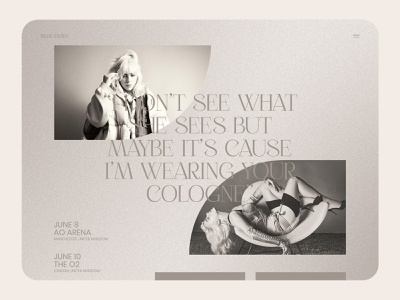 Billie Eilish Website Concept musician band singer celebrity billie eilish billie homepage design homepage design web design ux ui