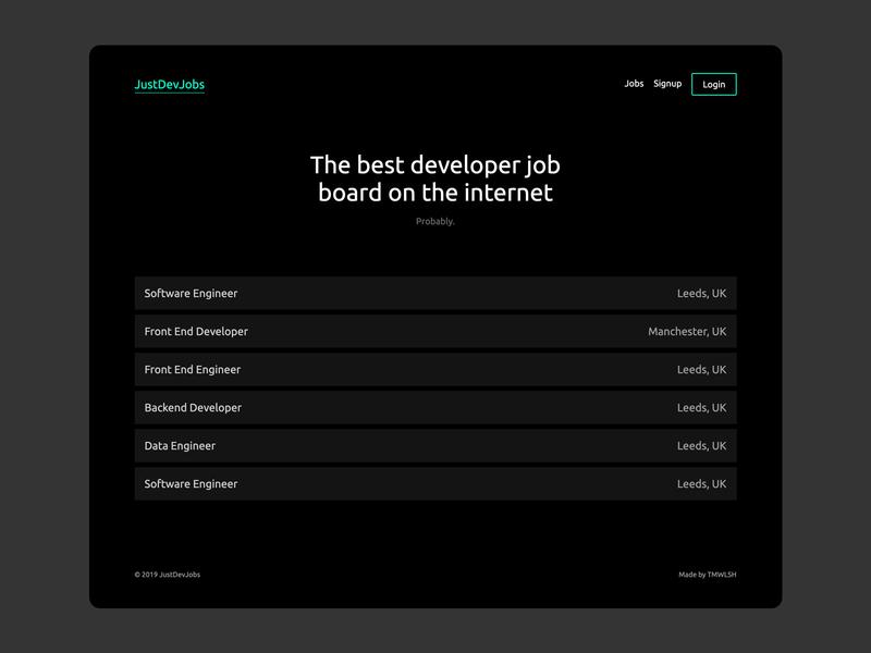 JustDevJobs Homepage homepage design dev jobs just dev jobs developer jobs web developer developer job board homepage web design ux ui