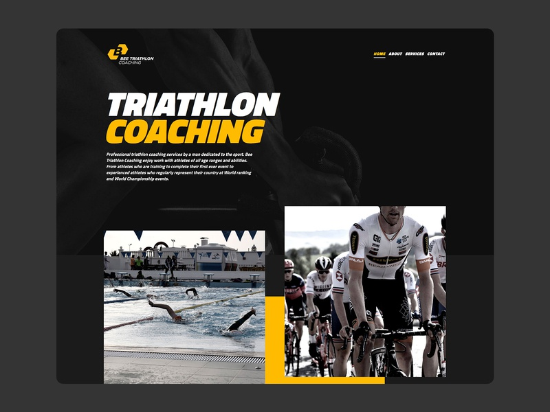 Bee Triathlon Coaching Homepage dark mode dark triathlon fitness homepage design homepage design web design ux ui