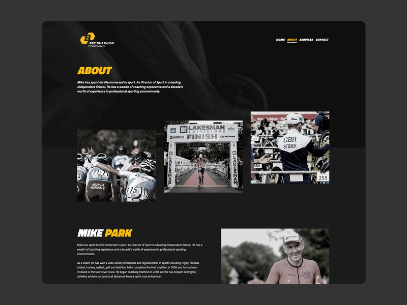 Bee Triathlon Coaching About Page about me about us about about page fitness homepage design homepage design web design ux ui