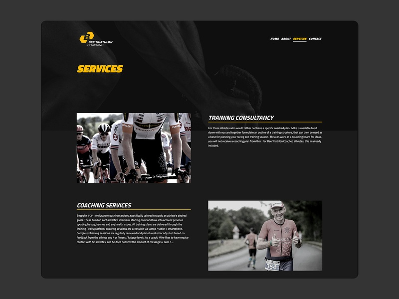 Bee Triathlon Coaching Services Page fitness services services archive archive services fitness design web design ux ui