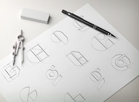 G letter explorations,  low fidelity sketches
