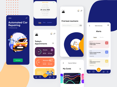 Automated Car Maintenance figma design case studies appointment booking to do list task management automation artificial intelligence car service car repair car rental interaction animation ux typography minimal illustration dashboard clean creative interface