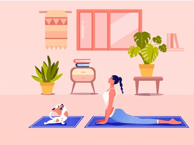 Home Workout drawing featured fresh minimal clean creative summer cat muscle gymnastics workout of the day women procreate illustration character illustration characterdesign gym yoga workout quarantine