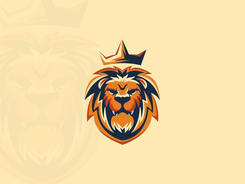 Lion logodesign king lion head mascot character lion