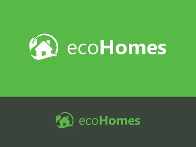 Eco Homes Logo invite. flat leaf nature new design identity corporate green house home eco logo