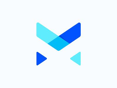 Letter M artwork shadow monogram art design blue branding logo m letter
