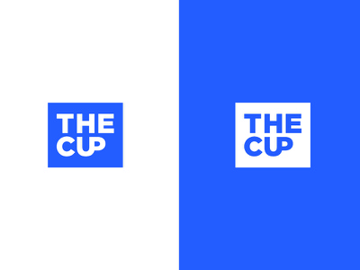 New logo concept for THE CUP negative space smart square blue branding the cup cup logo