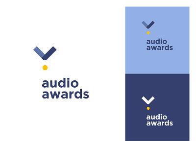 Audio Awards illustration professional new creative blue unique music audio medal awards award identity design branding logo
