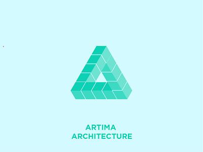 Artima Architecture app letter professional blue architectural design 3d architechture architect letter a a logo