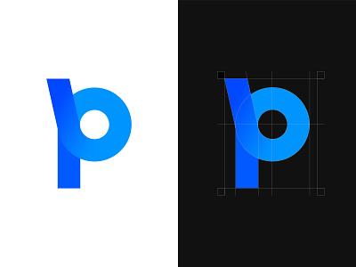Letter P design professional branding grow process creative letering blue gradient blue logo p letter