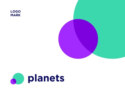 LOGOMARK for Planets dribbble letter branding logo a day logo alphabet logo design logotype logo animation mark gren and blue exotic creative new moder 2color coloful planets logo