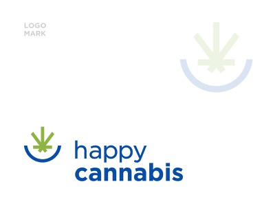 Happy Cannabis vector illustration dribbble professional creative logo 2color work can art can design branding typograpghy cannabis leaf leaf blue green cannabis smile happy