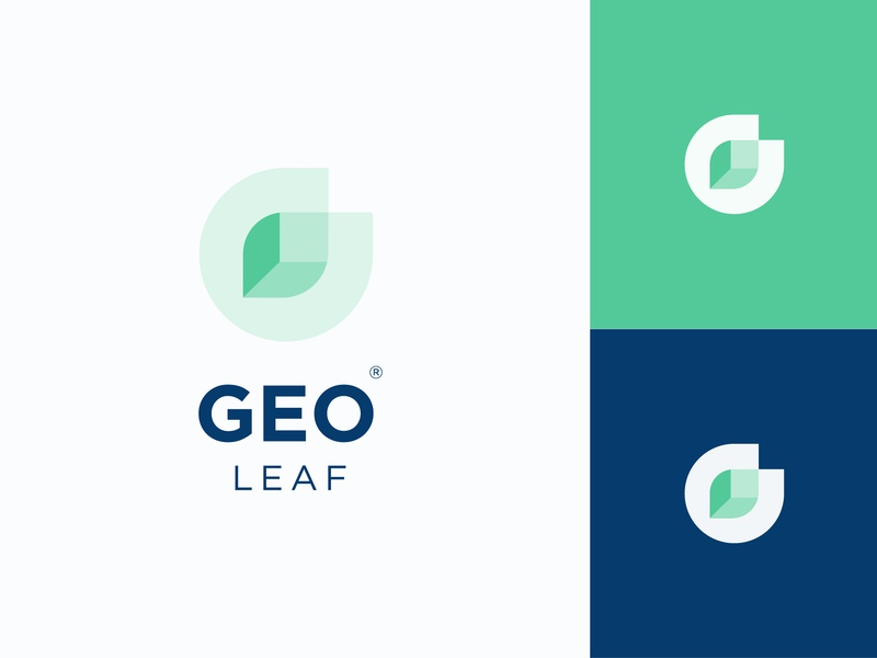 Geometric Leaf square letter identity vector geometric art geometric design leaflet design leaf logo green and blue green leaf geometric