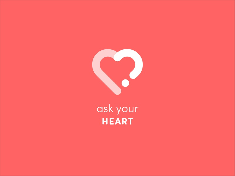 Ask Your Heart meaningful clever question ask nice red heart professional letter identity design creative branding logo