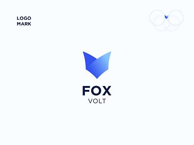 Fox Volt letter professional identity branding creative blue bird gradient icon gradient logo blue v logo fox v letter vlog