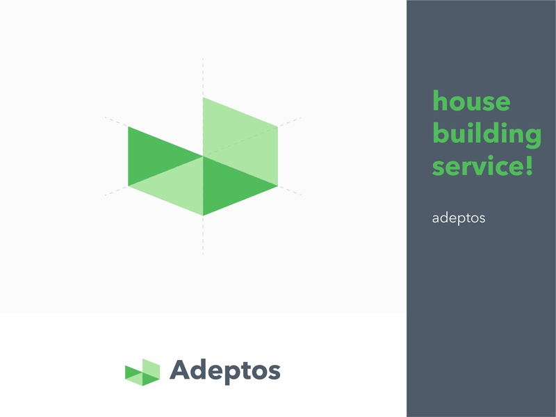 Adeptos typography house illustration amazing new house letter professional blue design identity creative logo