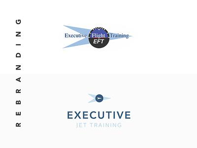 Rebranding project branding training jet execute executive new blue logo rebranding