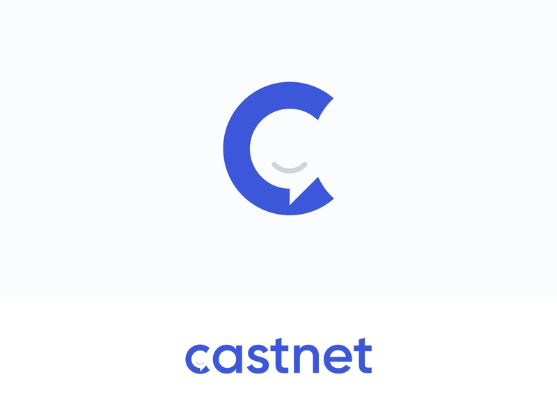 Castnet identity blue logotype logo design smille learn chat quote castnet logo