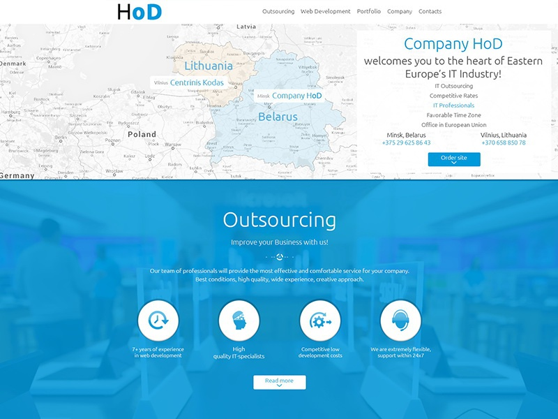 Company HoD ux ui interface web site