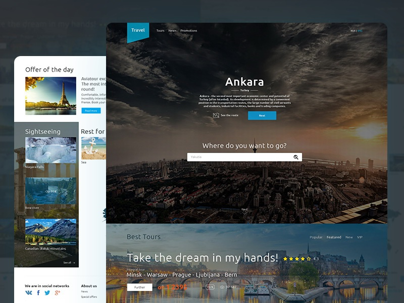 Travel ux ui interface web site