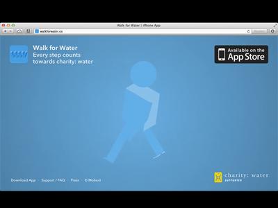 Walk for Water marketing site video iphone app avenir next animation