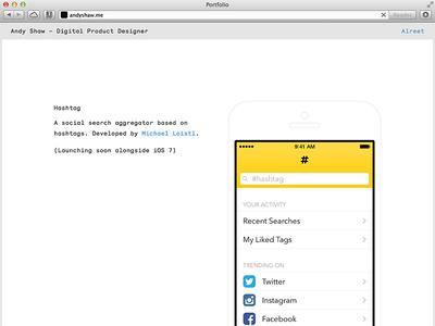 New Portfolio portfolio monosten ios ui iphone simple minimal