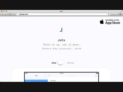 Jots website minimal monosten ios app simple
