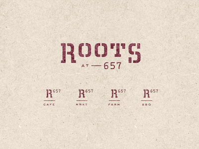 Unrooted bbq farm market cafe stamp logo