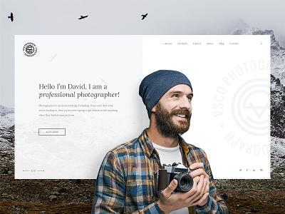 Homepage ui logo branding web portfolio vsco homepage creative retro clearn theme photography