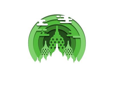Borobudur Temple   Papercut Design papercut indonesia vector illustration graphic design design