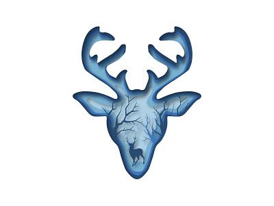 Reindeer Papercur Design papercut deer reindeer vector illustration graphic design design