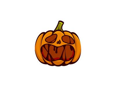Scary Pumpkin Logo   Logo Design scary pumpkin halloween vector logo illustration graphic design design