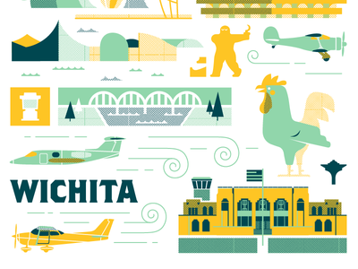 ICT Landmark Print donut whole keeper of the plains kansas aviation museum wichita ict