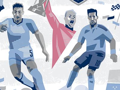 Besler, Nielsen, and Feilhaber confetti illustration soccer sporting kc