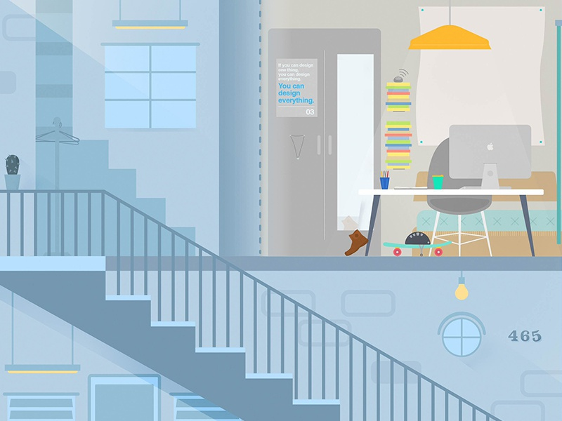 Moving Out: Sunset Flat apartment city interior design sunset flat afternoon urban architecture bright illustration philippines