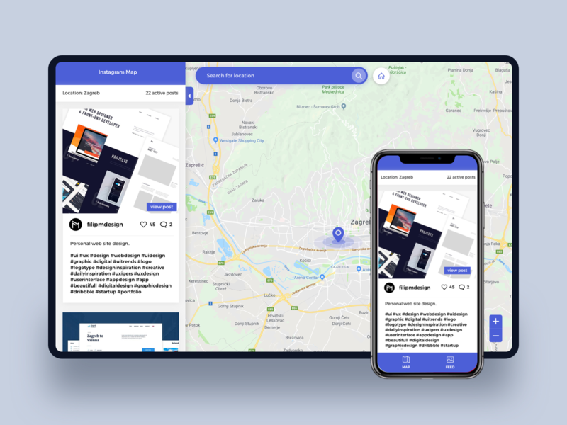 Instagram map by Filip Mramor on Dribbble on asia city map, thanksgiving map, napa wineries map, find me on map, geo location map, inforgraphic map, mobile map, pinboard map, san jose bike party map,
