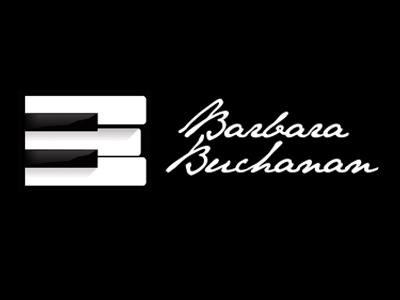 Buchanan Logo b piano keys black white music composer logo hand written