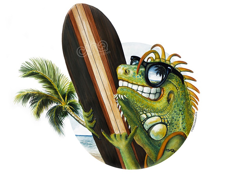 Iguana Surfer palm beach green illustration surfer iguana