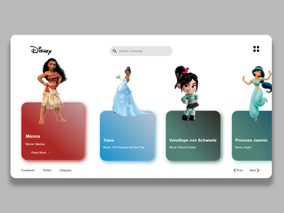 Disney Character introduction Site landing page webdesign webpage ux motion graphics animation