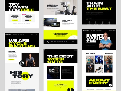 Cyclemasters - Overview cycling black yellow web visualdesign design uiux ui branding