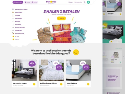 Dekbed Discounter  🛏️💤😴 illustration desktop interface bedding online webshop website web design ui