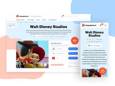 Walt Disney Studios mobile responsive interface ecommerce layout design ux ui website web