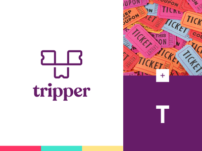 Tripper - Logo Design yellow turqoise pink purple t tickets ticket rebranding identity typeface logo brand branding