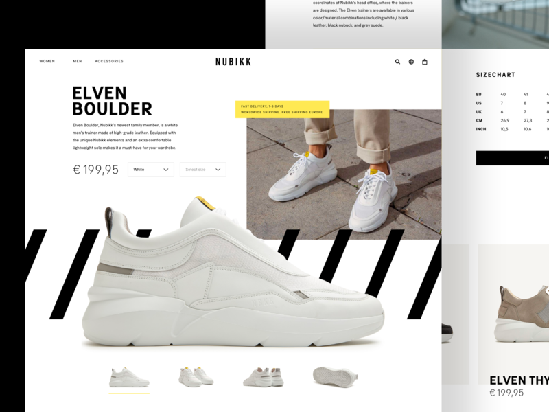 Nubikk - Product page shoes black yellow typography white concept website design web ui