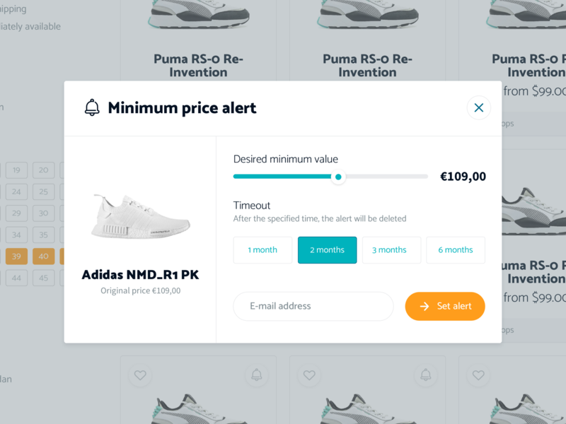 Sneakers123 - Price alert layout clean white mobile desktop responsive uxdesign ui website web webdesign
