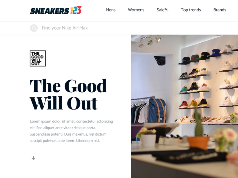Sneakers123 - Shop responsive mobile flat desktop layout white interface website design web ui
